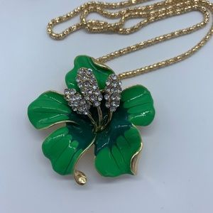 New green Bauhinia flower brooch pendant necklace